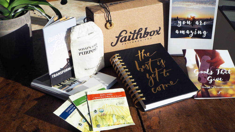 A Monthly Christian Subscription Box I've been receiving Faith Box for almost a year now im in love! I tell all of my friends about the wonderful, practical products, the individuals who the proceeds go to, and how these are great tools to spread God's word.