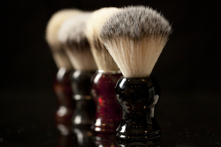 The Personal Barber synthetic hair shaving brushes lined up
