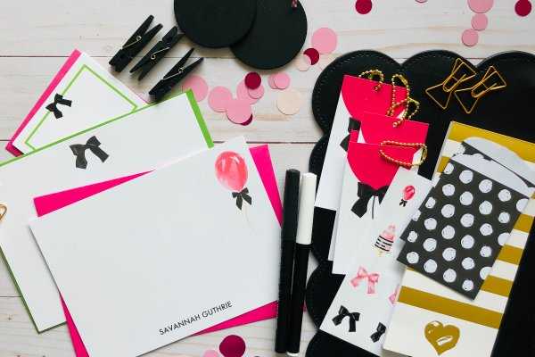 Feminine stationery with personalization from Pretty Paper Club