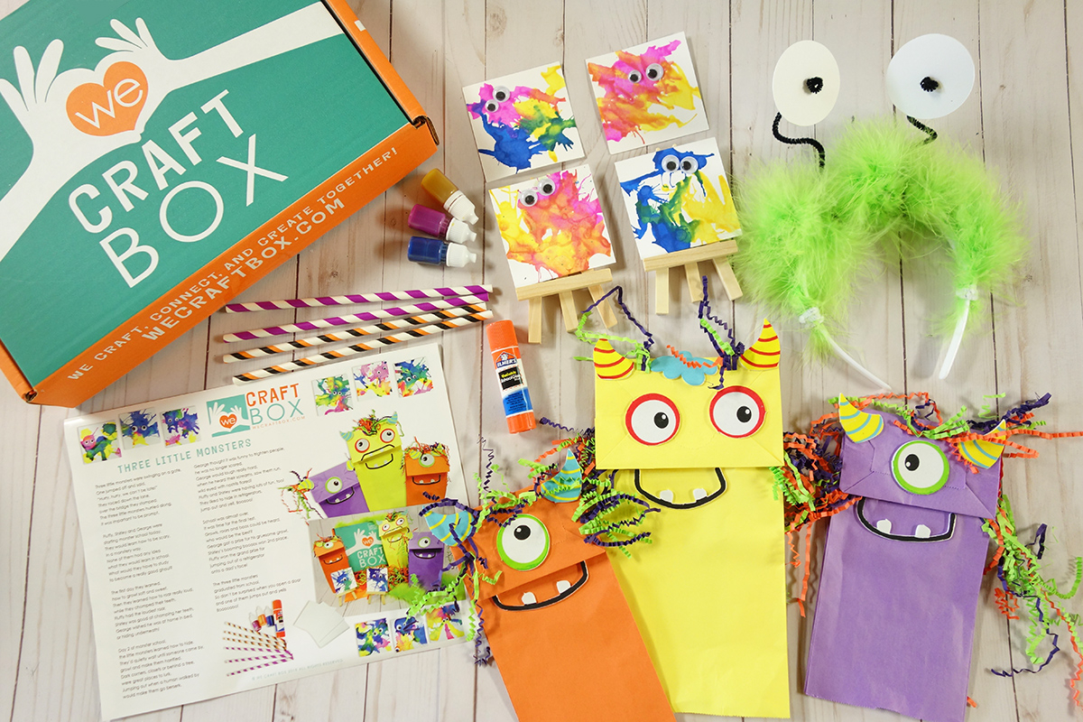 We Craft Box shown with completed crafts as examples of what might come in this subscription.