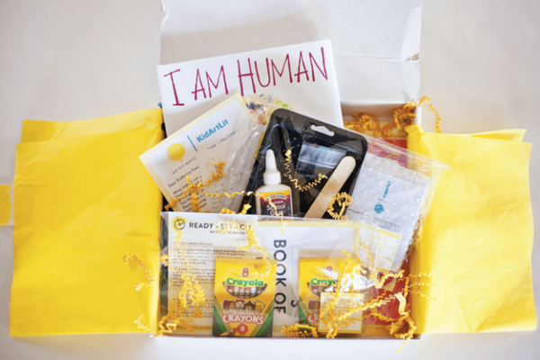 I Am Human book with coordinating craft projects from Kid Art Lit box.