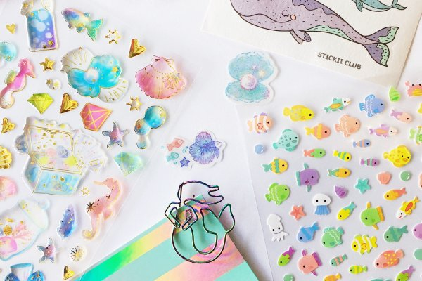 Colorful fish, mermaid, and seashell stickers from Stickii Club.
