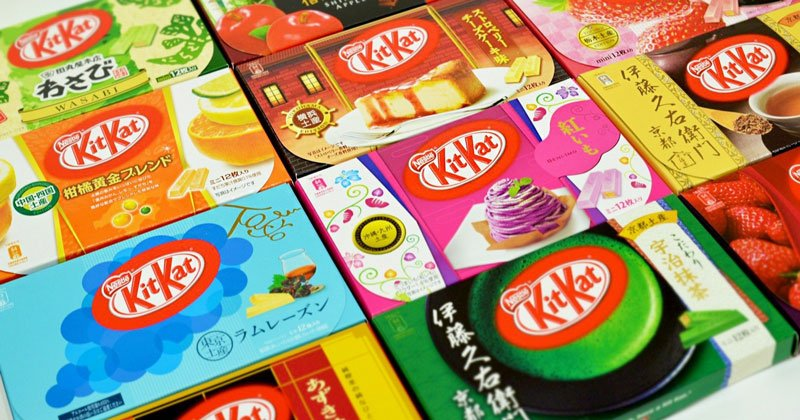 Japanese Kit Kats offer a variety of flavors and are easy to take home as gifts.