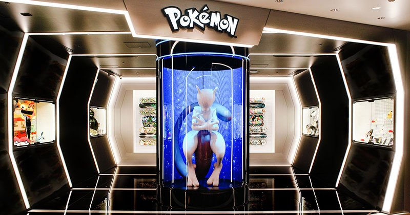 Mewtwo greets you at the entrance of the Pokemon Store located inside Shibuya Parco