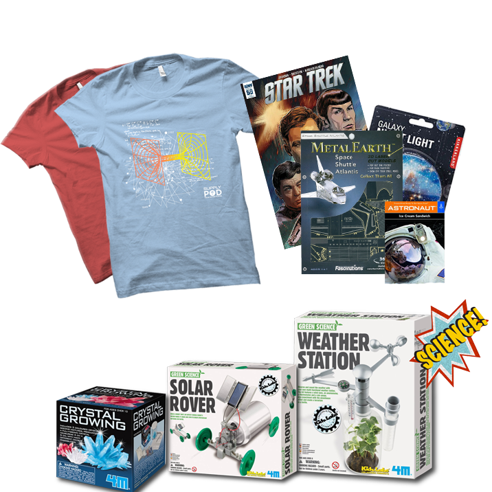T-shirts, Do it yourself science kits, and 2-4 other awesome items are in every pod