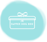box of toys, gifts, goodies and healthy treat for dogs