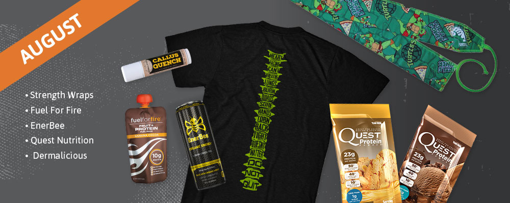 August Past Box - Strength Wraps, Fuel For Fire, EnerBee, Quest Nutrition, Dermalicious