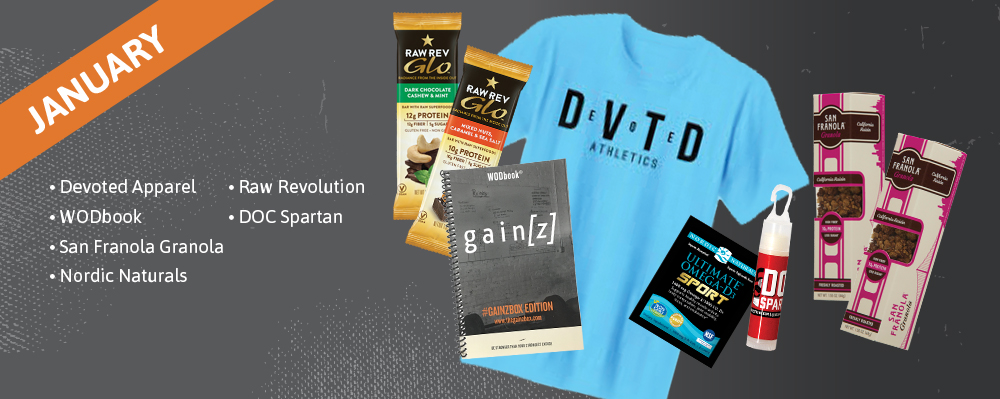 January Past Box - Devoted Apparel, WODbook, San Franola Granola, Nordic Naturals, Raw Revolution