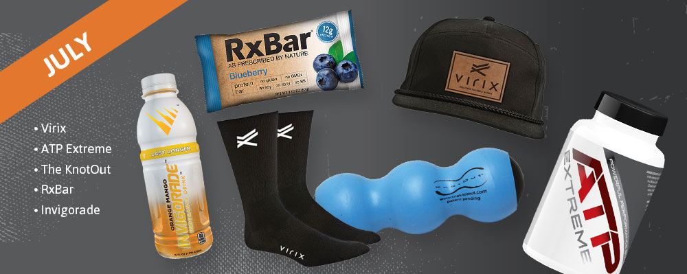 July Past Box - Virix, ATP Extreme, The KnotOut, RxBar, Invigorade