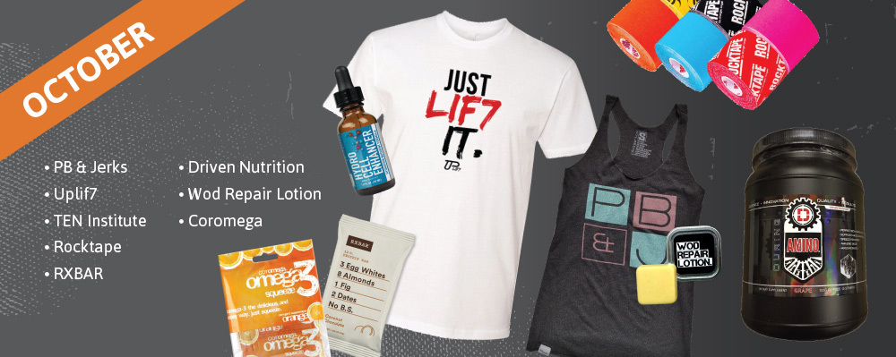 October Past Box - PB & Jerks, Uplif7, TEN Institute, Rocktape, RXBAR, Driven Nutrition, Wod Repair Lotion, Coromega