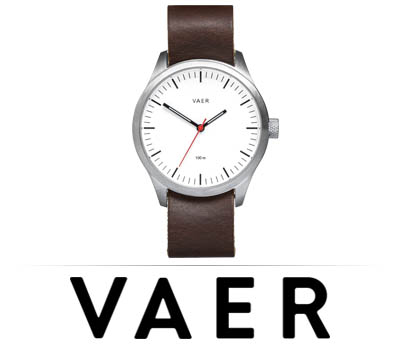 Vaer Classic Leather Watch + Extra Blue Nylon Band