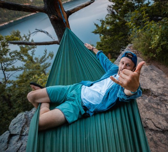 man on hammock photo