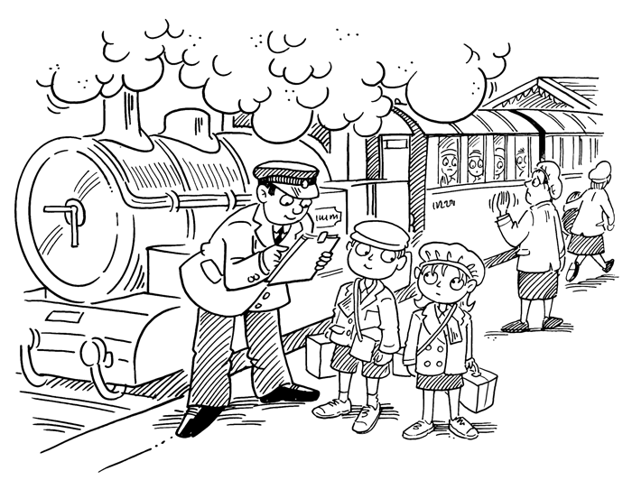 Evacuees for Kids Book Illustration