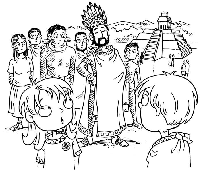 Aztec Empire for Kids Book Illustration