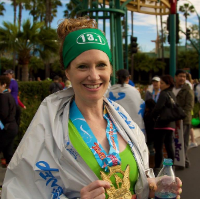 Woman after finishing a marathon